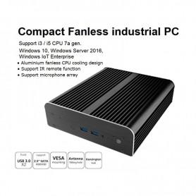 "Nuc industriale fanless 7th generation i3 / i5, con supporto Intel Optane ed ssd/hdd 2,5"". Slim design"