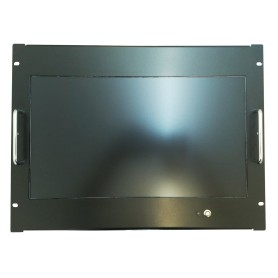 """Monitor 18,5"""" Full HD per fissaggio su armadi rack 8U, colore nero. Disponibile anche con touchscreen"""